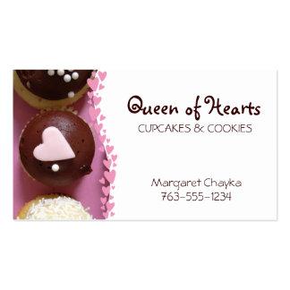 pink heart cupcake sprinkles cookies baking bakery business card template
