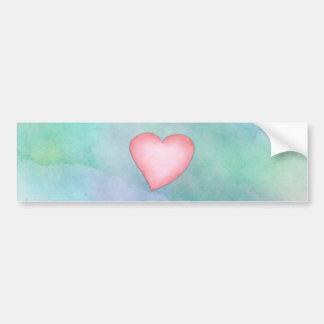 Pink heart cute water color design bumper sticker