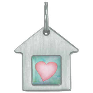 Pink heart cute water color design pet name tag