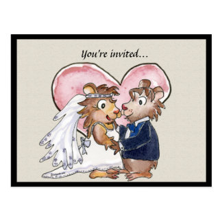 Pink Heart Cute Wedding Save the Date Cards Postcard