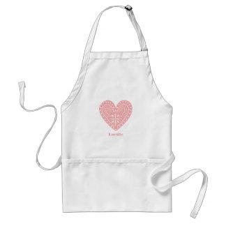Pink Heart Cutout Personalized Apron