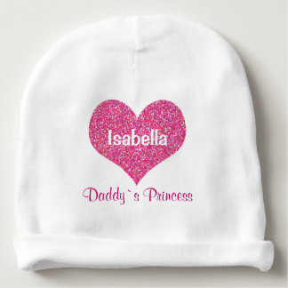 Pink Heart Daddy`s Princess Personalized Baby Name Baby Beanie