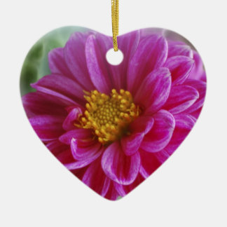 Pink Heart Dahlia Ceramic Ornament
