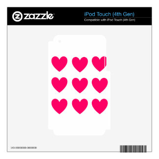 Pink Heart Design Decal For iPod Touch 4G