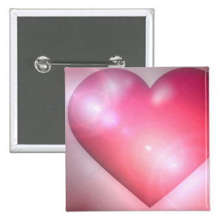 Pink Heart Design Square Pin