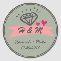 Pink Heart Diamond Wedding Favor Monogram Sticker