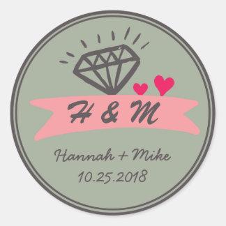 Pink Heart Diamond Wedding Favor Monogram Sticker