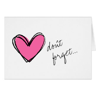 Pink Heart-Don't Forget Stationery Note Card