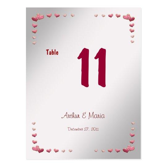 Pink Heart Elegant Table Number Card