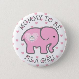 Pink Heart Elephant Its a Girl Baby Shower Pin