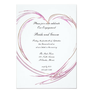 Pink Heart Engagement Party Invitation
