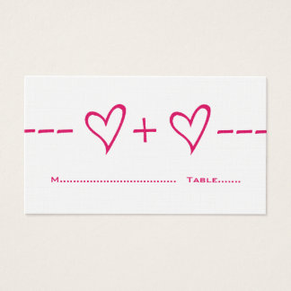 Pink Heart Equation Place Card