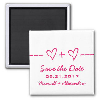 Pink Heart Equation Save the Date Magnet