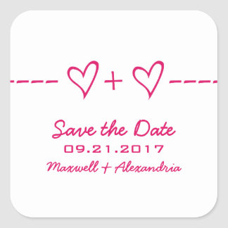 Pink Heart Equation Save the Date Stickers
