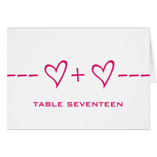 Pink Heart Equation Table Number Card