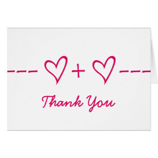 Pink Heart Equation Thank You Card