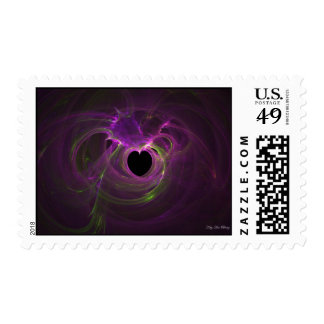 Pink Heart Explosion Fractal by Kitty Ann Postage