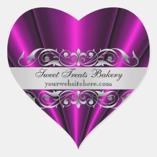 Pink Heart  Fan Cupcake Baking Label Sticker