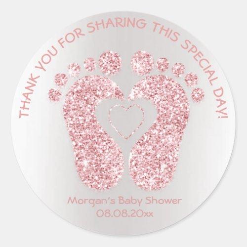 Pink Heart Feet Baby Shower Glitter Thank Sparkly Classic Round Sticker