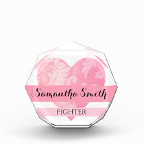 Pink Heart Fighter Acrylic Award, Octagonal rv Award