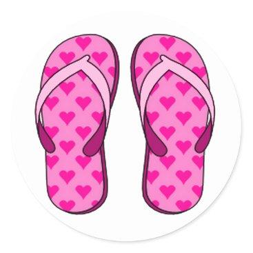 Beach Themed Pink Heart Flip Flop Stickers
