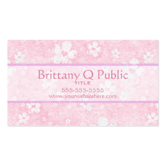 Pink Heart Flowers Business Card