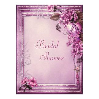 Pink Heart Flowers Frame Felt Bridal Shower Personalized Announcement