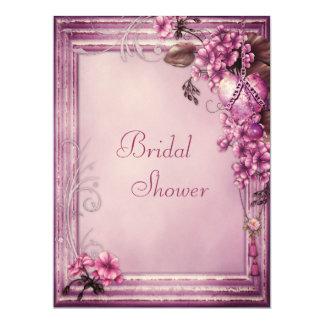 Pink Heart & Flowers Frame Felt Bridal Shower 6.5x8.75 Paper Invitation Card