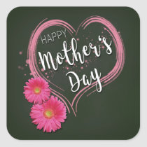 Pink Heart Flowers Mother's Day - Sticker