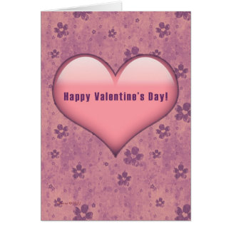 Pink Heart Flowers Retro Valentine's Day Card