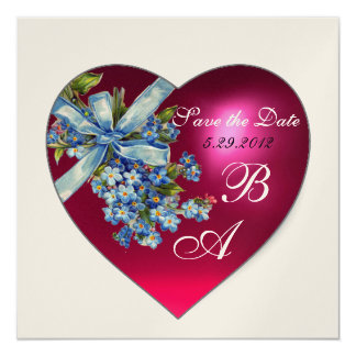 PINK HEART FORGET ME NOT MONOGRAM silver metallic Card
