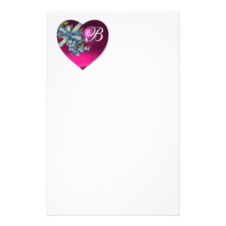 PINK HEART & FORGET ME NOTS MONOGRAM CUSTOMIZED STATIONERY
