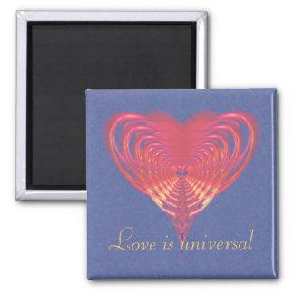 Pink Heart Fractal Magnet