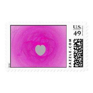 Pink Heart Fractal Postage