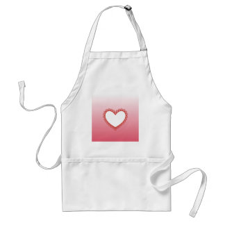 Pink Heart Frame with Daisies Adult Apron
