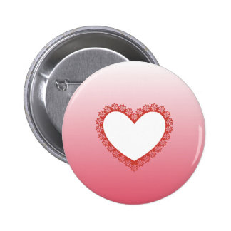 Pink Heart Frame with Daisies Pinback Button