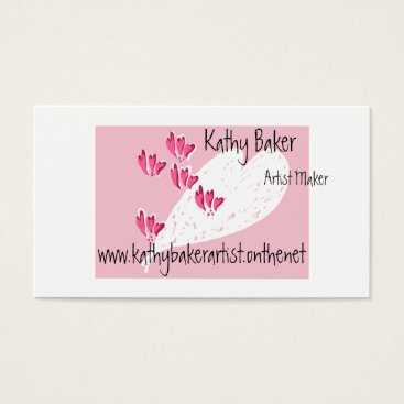 Professional Business Pink heart fun business/c on white w/black text business card