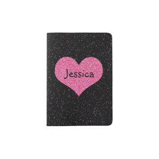 Pink Heart Girly Name Passport Holder