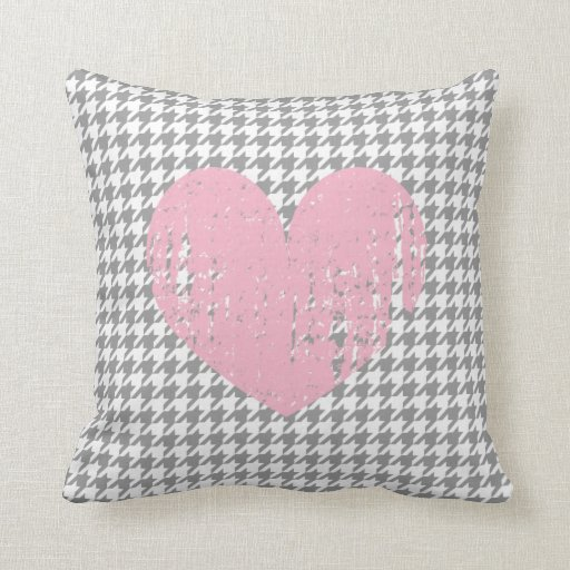 Pink heart & gray houndstooth pattern throw pillow Zazzle