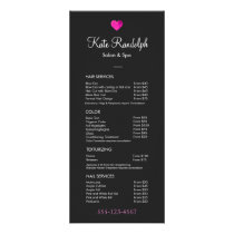 Pink Heart Hair Salon Black Price List Menu