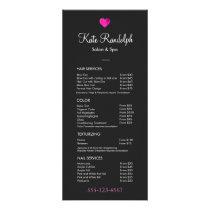 Pink Heart Hair Salon Black Price List Menu