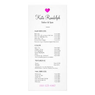 Pink Heart Hair Stylist White Price List Menu