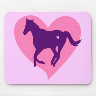 Pink Heart Horse Mouse Pad