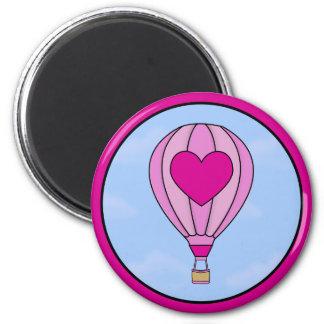 Pink Heart Hot Air Balloon Magnet