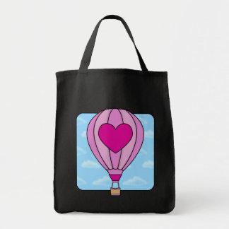 Pink Heart Hot Air Balloon Tote Bag