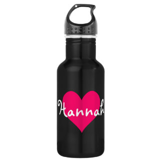 Pink Heart I Love Hannah Stainless Steel Water Bottle