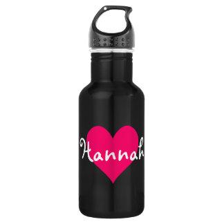 Pink Heart I Love Hannah Stainless Steel Water Bottle
