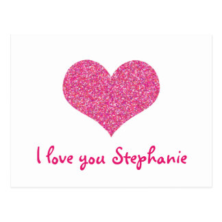 Pink Heart I Love You Girly Name Postcard