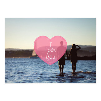 """Pink Heart """"I Love You"""" Valentine's Day Photo Card"""