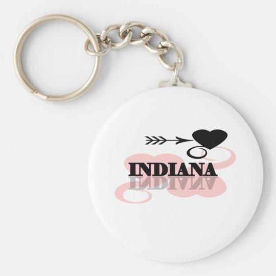 Pink Heart Indiana Keychain